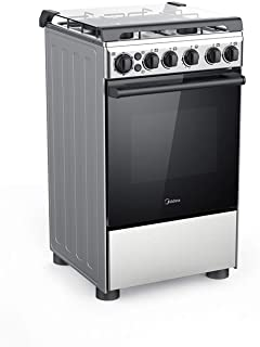 Midea 50X55 cm, 4 Burners Gas Cooker with Full Safety and Cast Iron Pan support, Silver - BME55007FFD, 1 Year Manufacturer Warranty