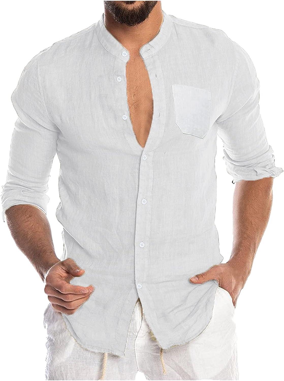 Aayomet Men's Cotton Linen Shirts Long Sleeve Button Down T-Shirt Workout Yoga Casual Loose Sport Beach Tee Tops Shirts