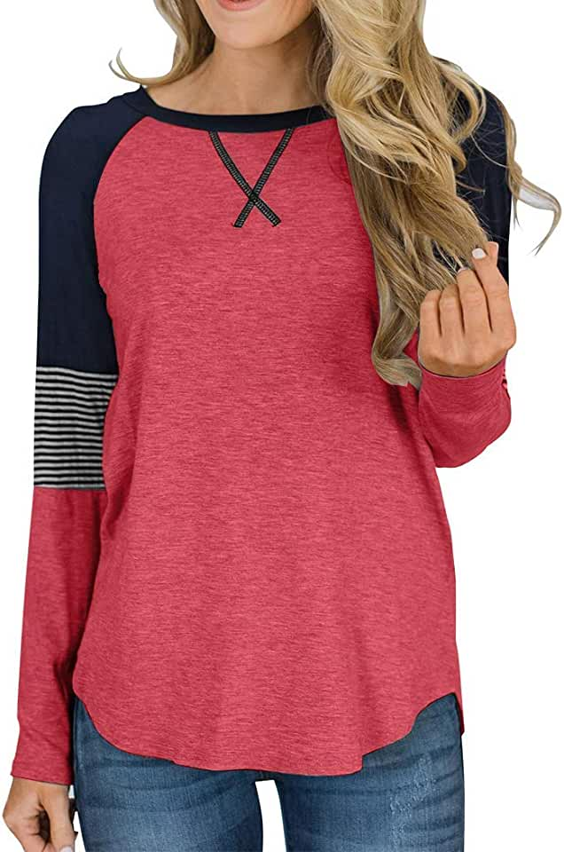 JIANGRUI Womens Long Sleeve and Short Sleeve T Shirts Color Block Causal Blouses Tops Round Neck Striped Tunic Tops