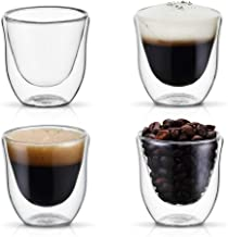PunPun Insulated Coffee Shot Glasses,Espresso Glass Cup,Heatproof Insulating,Double Wall Clear Thermo Insulated Borosilicate Glasses Set of 4,Lead Free Handmade Glass,FDA Approved,Each 2.0 oz./ 60 ml