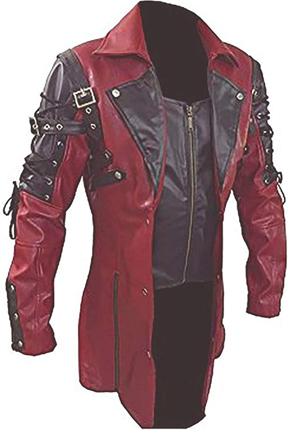 Men's Sexy RED Black Real Goth Leathr Coat Selling rankings Matrix In stock Trench