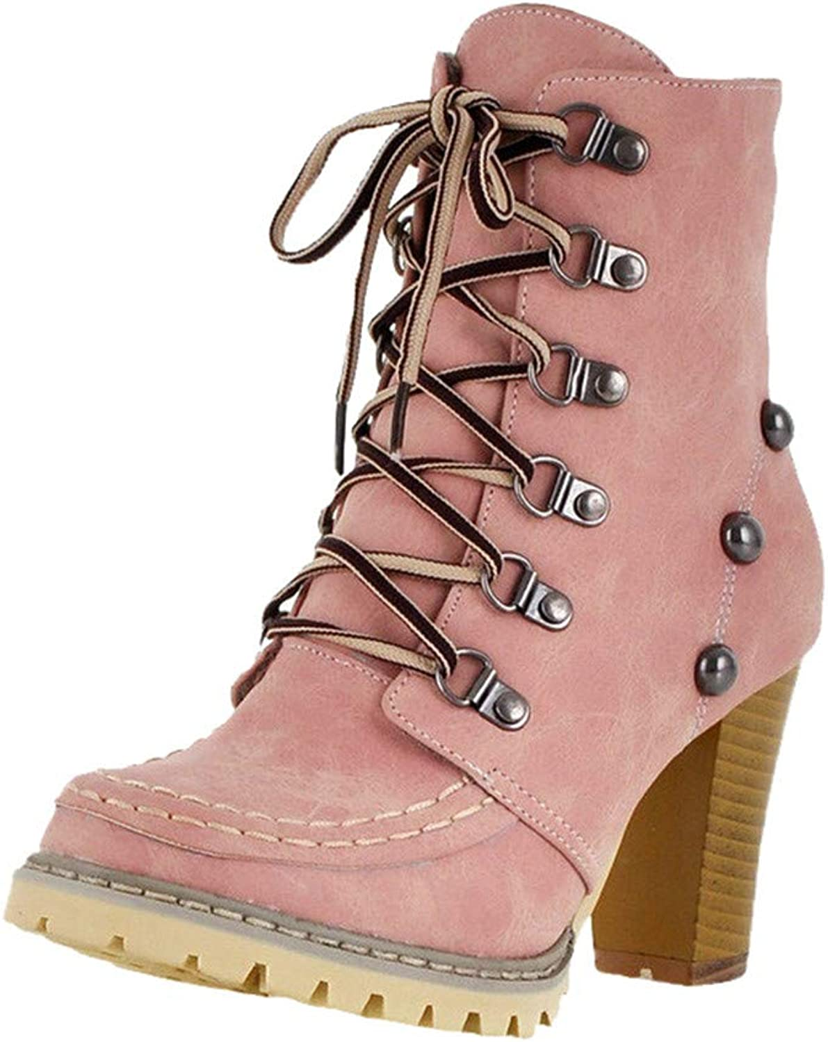 Teresamoon Women's Leisure Rivets shoes Non-Slip Lace-Up High Heel Short Tube Boots (Pink 38)