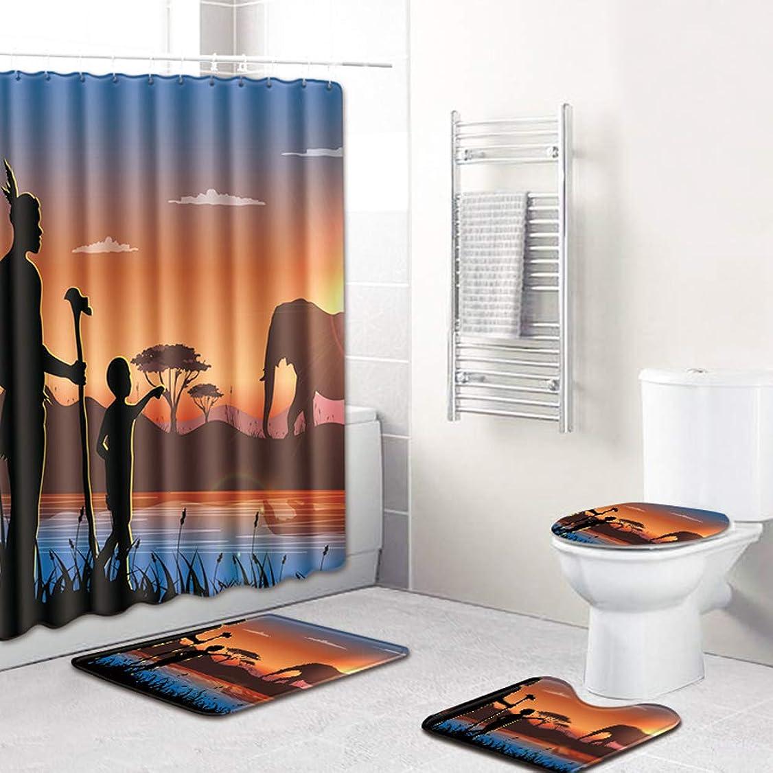 短命書き込み衝突コース4ピースアフリカスタイルの風景ポリエステルシャワーカーテンセット非スリップラグカーペット用浴室トイレフランネル風呂マットセット (A1)