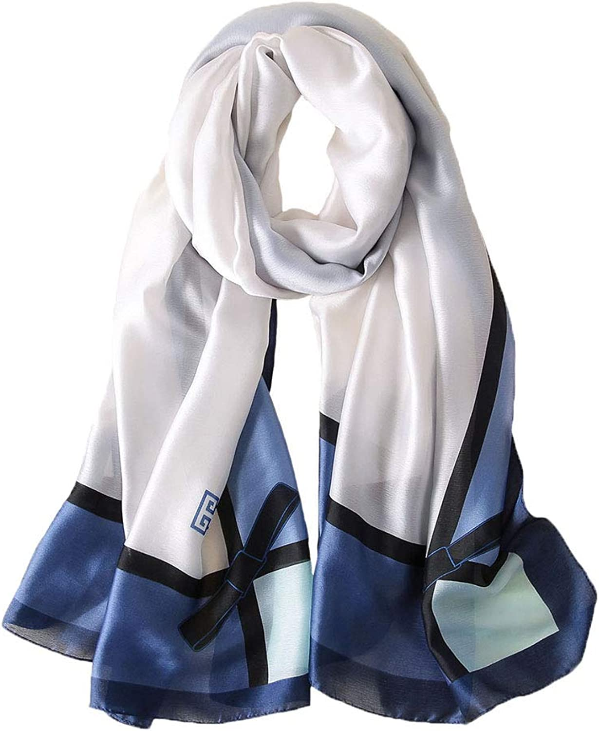 100% Mulberry Silk Scarf Women's Fashion Pattern Large Satin Headscarf Ladies Floral Satin Scarf Gift for Valentine's Day ((Bowknot White bluee))