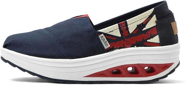 Women Breathable Pure color Slip-On Platform Swing Rocker Shape Sneaker Casual Walking shoes(bluee2 40 9.5 B(M) US Women)