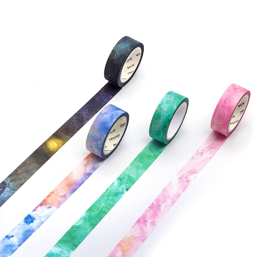 Washi Masking Tape Set Famous Painting Decorative Craft Tape Collection for DIY and Gift Wrapping with Colorful Designs and Patterns (Galaxy(4 pc)) ruwjuycwrg27747
