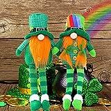 2 Pack St Patrick's Day Gnome Plush Stuffed Dolls - Mr and Mrs Handmade Scandinavian Tomte Leprechauns Saint Patty's Day Ornaments | Good Luck Symbol at 2021 Mascot