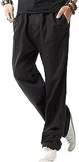 Men's Linen Casual Lightweight Drawstrintg Elastic Waist Summer Beach Pants