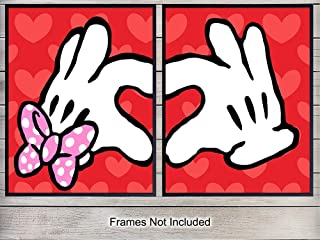 Mickey and Minnie Mouse Heart Hands Art Prints - Love Wall Art Poster Set- Unique Home Decor for Girls Room - Gift for Disney World, Disneyland Fans - 8x10 Photo Unframed