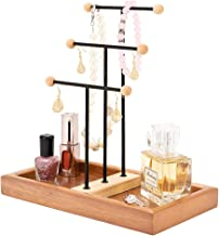QILICHZ Jewelry Holder Wooden Jewelry Tree StandHanger Display Necklaces and Earrings Holder Organizer Rackfor Necklace, Bracelets, Earrings and Watches with Ring Tray