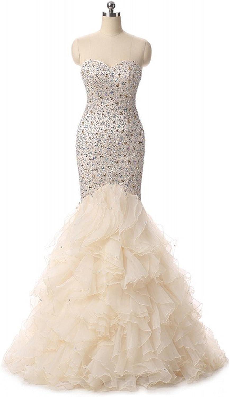 Promworld Women's Sweetheart Mermaid Rhinestone Long Prom Dress Ball Gowns