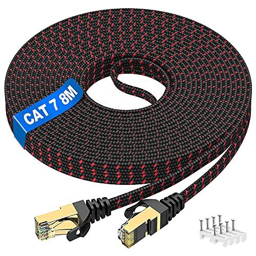 8m Cavo Ethernet Cat7, Alta velocità Cavo di Rete Cat 7 (8pezzi Clip) 10Gbit/s 600MHz Piatto Nylon Professionale Placcato STP LAN RJ45 Gigabit Cavo Patch Compatibile con Router Modem Switch TV Box PC