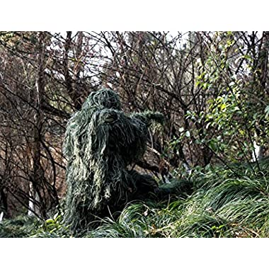 ABCAMO Adult Size Woodland Camouflage Ghillie Suit for Hunting And Outdoor Sport
