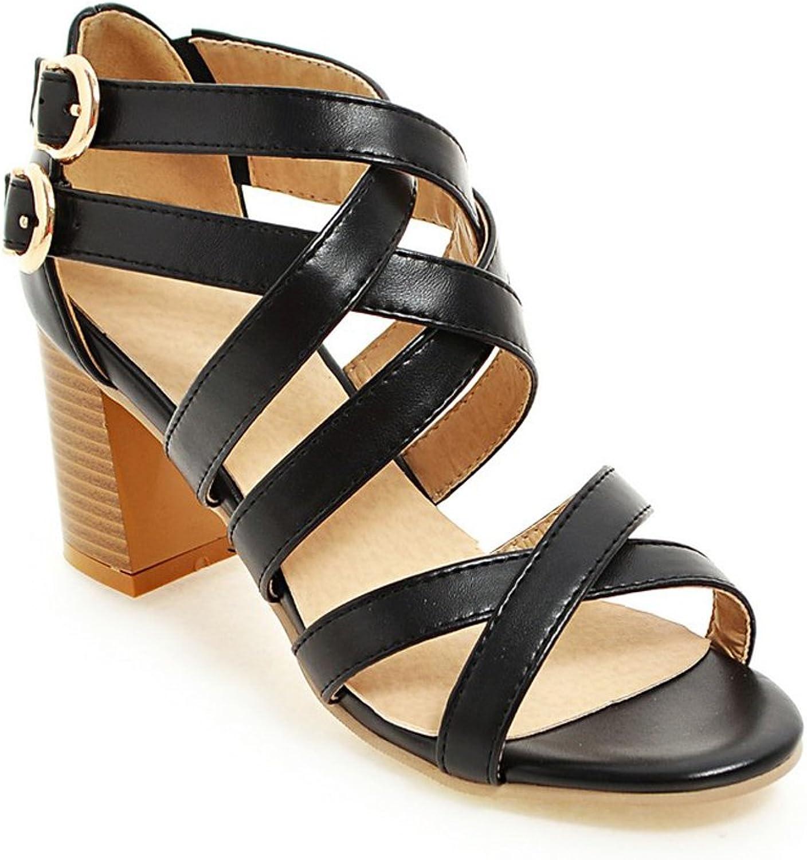 AIWEIYi Womens Summer Style Beach Sandals Cross Strap Thick High Heel shoes orange