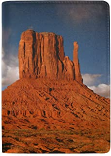 Peaks of Rock Formations in The Monument Blocking Print Passport Holder Cover Case Travel Luggage Passport Wallet Card Holder Made with Leather for Men Women Kids Family