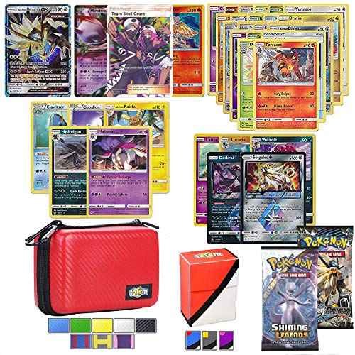 Totem World Pokemon Cards GX Lot with Carrying Case! Includes 1 GX Card Guaranteed, 2 Booster Pack, 5 Rares, 5 Holos, 20 Regular Pokemon Cards, and Deck Box