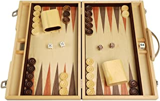 Orion Craft 15-inch Classic Wood Backgammon Set - Indigo Blue Stained Oak Exterior, Inlaid Oak Playing Surface   Backgammon Board Game