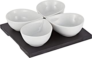 Harmony 2724623287195 MDF Snack Bowl with Tray Set of 5, White