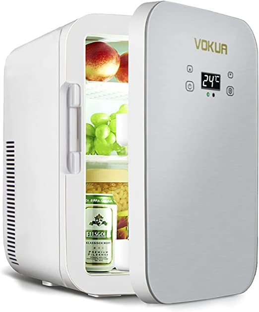 Amazon Com Mini Fridge Vokua 10 Liter 11 Can Dual Core Compact Refrigerator For Drinks Bedroom Skin Care Office Dorm Car Travel Portable Ac Dc Small Cooler And Warmer With Digital Temperature Control Appliances