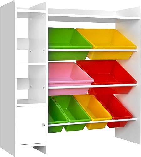 Keezi 8 Bins Kids Toy Box Storage Organiser Rack Bookshelf Drawer Cabinet