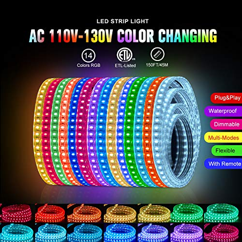 Shine Decor 150FT LED RGB Strip Lights, ETL-Listed AC110V-120V Dimmable Color Change Fairy Light Strips, IP65 Waterproof Indoor Outdoor Rope Lights with Remote Ambiance LED Strip Lighting(8x15.5mm)