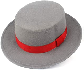 2019 Mens Womens Hats Unisex Men Women Flat Top Hat Autumn Pop Church Travel Hat Fascinator Wool Polyester Casual Wild Hat Adjustable with Red Ribbon Wool Trilby Jazz Hat