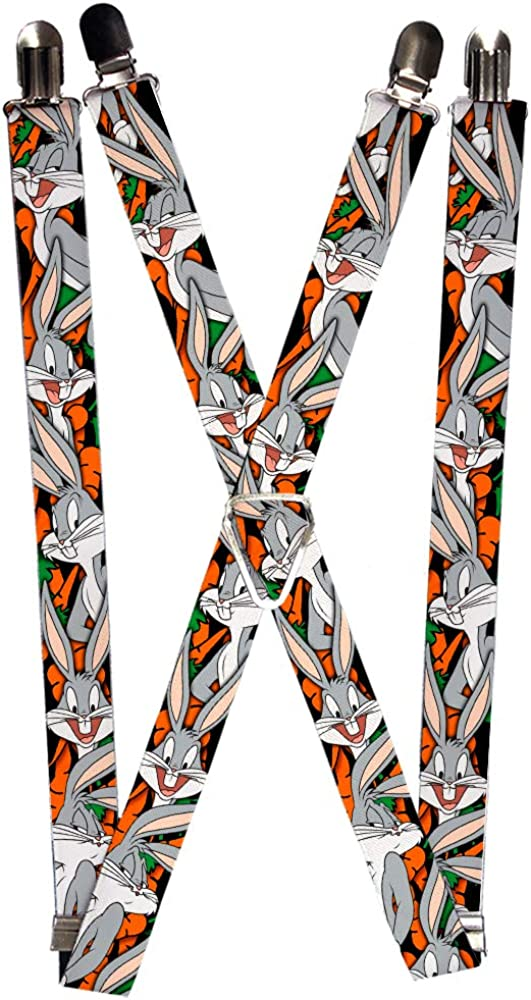 Buckle-Down Men's Suspenders-Bugs Bunny Expressions/Carrots Black