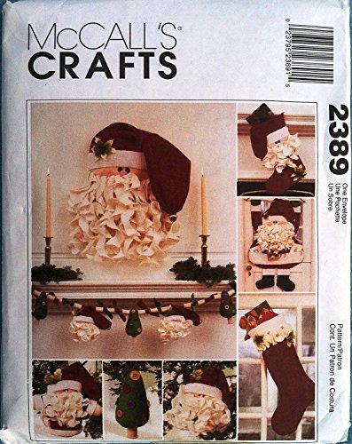 Uncut 1999 McCall's Santa Christmas/holiday Craft Pattern 2389. Card Holder; Door Hanging; Stocking; Ornaments, & Garland