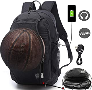 Basketball Backpacks Sports Bags for Football, Soccer with Ball Compartment Laptop Computer Backpack with USB Charging and Headphone Port Fit 15.6 Inch Notebook for Boys Men