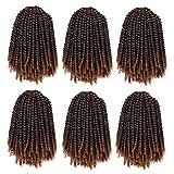 8 Inch Spring Twist Crochet Hair 6 Packs Jamaican Bounce Spring Twists Crochet Braids Short Passion Twist Crochet Braiding Hair Fluffy Synthetic Hair Extensions (15strands/Pack;T1B/30#)