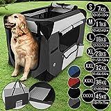 Hundebox aus Stoff - faltbar, zusammengefaltet tragbar, abwaschbar, Farbwahl, Größenwahl S-XXXXL - Hundetransportbox, Auto Transportbox, Katzenbox für Hunde, Katzen und Kleintiere (S, Dunkelgrau)