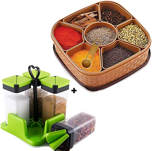 Today life style Combo Offer Pack of 5 1 pcs Washable airtight Masala Box and Free 4 pcs Unbreakable Multipurpose Storage Spice Rack with Stand