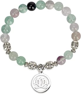 Lotus Crystal Fluorite Healing Energy Bead Bracelet for Women Stainless Steel and Alloy