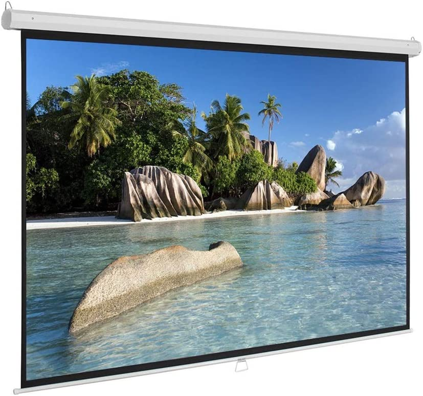 DSFEOIGY Manual Pull Down Projector Screen 60 72 84 100 Inch 4:3 HD Widescreen Retractable Auto-Locking Portable Projection Screen (Size : 72 inch)