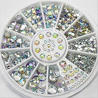 Mix Size 3D Nail AB Rhinestone Gem Crystal 3D Nail Art Decoration Wheel Manicure