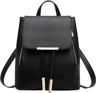 Fashion Shoulder Bag Rucksack PU Leather Women Girls Ladies Backpack Travel bag(Black_Flip)