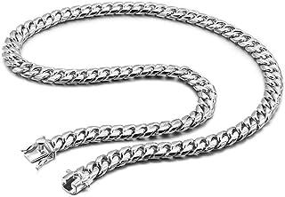 قلادة للرجال من الفضة الإسترلينية 925 من Dankadi Italy - قفل صندوق وصلة كوبية 10 مم 22-24-26 بوصة هدية مجوهرات