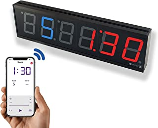"""GymNext Flex Timer - Home Edition - Bluetooth App-Controlled LED Interval Timer with Medium 2.3"""" Digits for CrossFit, Taba..."""