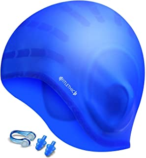 FITLETHIC Long Hair Swimming Cap, Silicone Waterproof Swim Cap with Ear Protection for Women, Girls, Men and Adults, 3D Ergonomic Design Comfortable and Durable Comes with Nose Clip & Ear Plugs - Blue