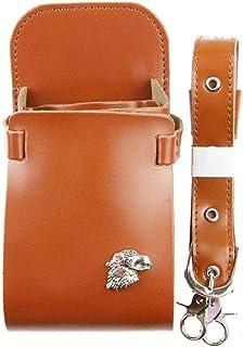 JPAKIOS ベルト付き美容鋏ホルスターポーチレザーバーバーコームケースバッグ美容院ツールバッグ (色 : ブラウン)