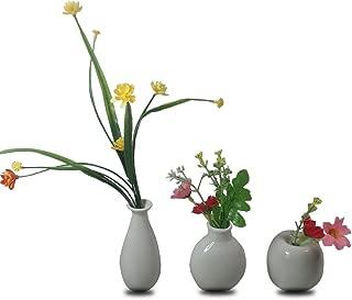 CRH600 3 Mini Little Buddies Ceramic Bud Vases for Flowers, Plants Floral Decor, Vintage Collectible Vases, Vintage Porcelain (White)