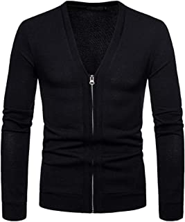 Sliktaa Mens Thick Knitted Cardigan Classic Full Zipper V-Neck Long Sleeve Knitwear Cotton Jumper Autumn Wintwer