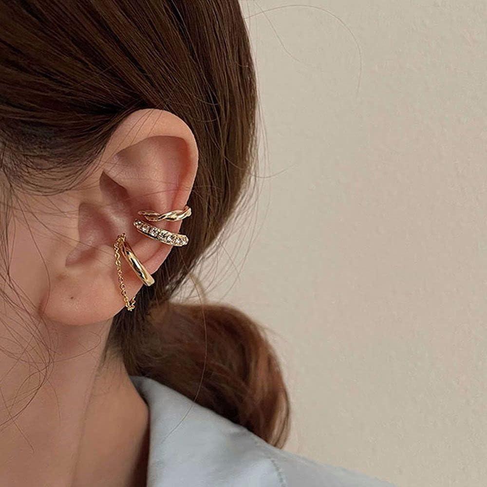 PUJIA 3Pcs/Set Street Style Non Piercing Cartilage Clip Earrings, Ear Cuff, Rhinestone Diamond Ear Bone Clip Women Chic Jewelry
