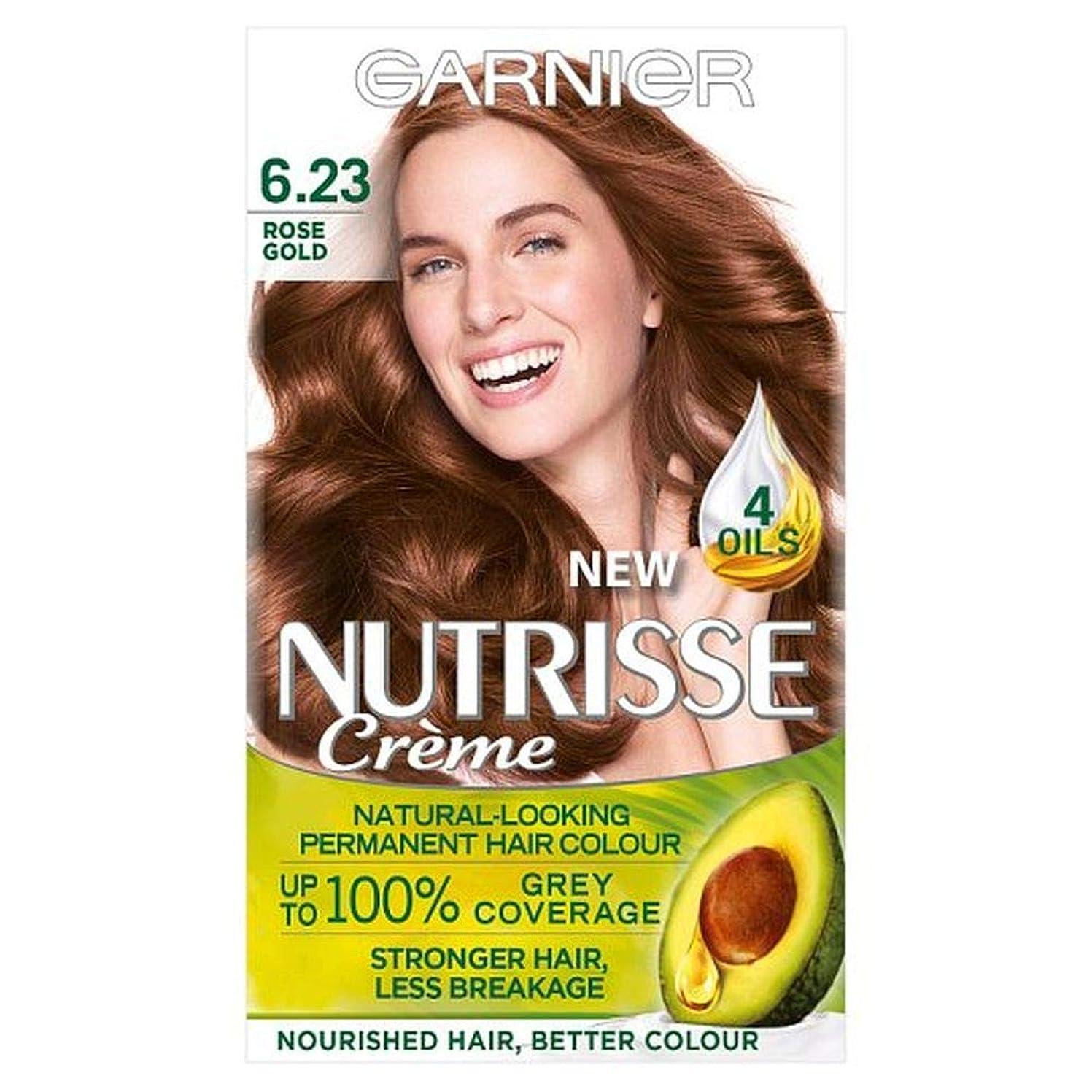 メッシュ降下強要[Garnier ] 6.23 Nutrisseガルニエは金茶色の永久染毛剤をバラ - Garnier Nutrisse 6.23 Rose Gold Brown Permanent Hair Dye [並行輸入品]