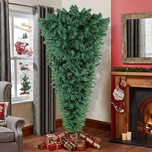 OurWarm 7ft Upside Down Artificial Christmas Tree with 1100 Branch Tips, Green PVC Xmas Tree with Foldable Metal Stand for Indoor Outdoor Holiday Christmas Decorations