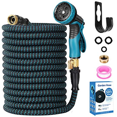 """Expendable Garden Hose, Homga 50FT Garden Water Hose with 9 Function Nozzle and 3-Layers Latex, Heavy Duty Kink Free Water Hose with 3/4"""" Solid Brass Fittings Anti-leak flex Hose for Watering, Washing"""