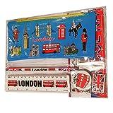 Kit Escuela de Londres - Azul / Bolígrafo / Estuche / Goma de Borrar / Sacapuntas / Regla / Autobús / Big Ben / Tower...