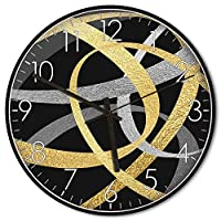 MKKM ノベルティホーム壁時計、ブラックメタルボーダー、ラウンドクリエイティブ抽象的なパターン壁エコレーション時計多色,私