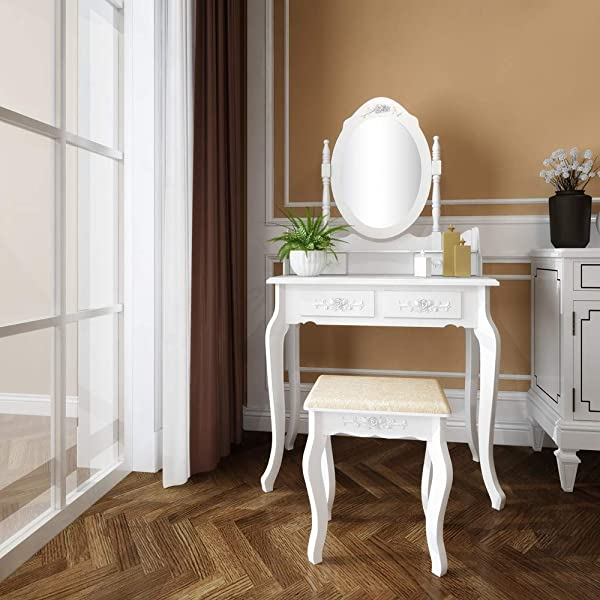 Goujxcy Vanity Set With Mirror And Stool Makeup Table With 4 Drawers Room Dresser Desk Vanity Oval Mirror And Padded Vanity Stool Dressing Tables For Bedroom Vanities White