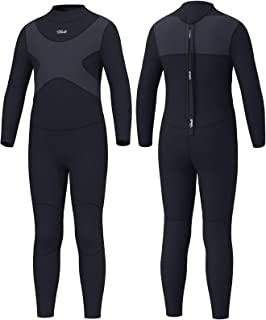 Hevto X Wetsuits Kids and Youth 3mm Neoprene Full Suits Long Sleeve Surfing Swimming Diving Swimsuits (X-Kids Gray, 14)